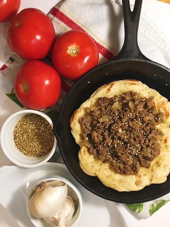 Fresh Laffa with Spiced Ground Beef